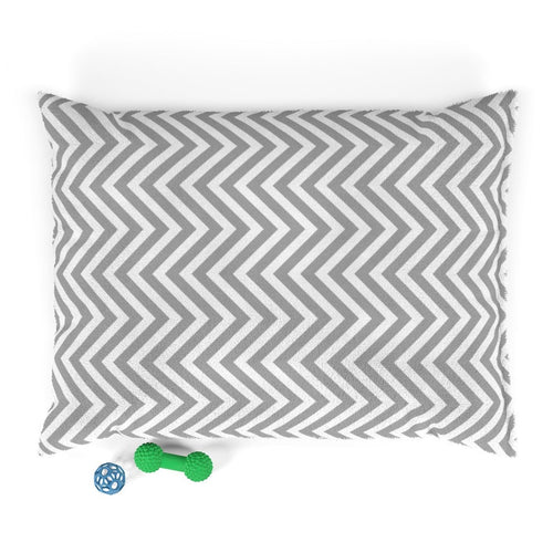 Gray and White Chevron Plush Dog Bed - Poshtails