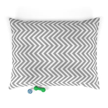 Load image into Gallery viewer, Gray and White Chevron Plush Dog Bed - Poshtails