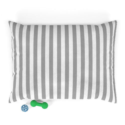 Gray and White Striped Plush Dog Bed - Poshtails