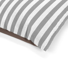 Load image into Gallery viewer, Gray and White Striped Plush Dog Bed - Poshtails