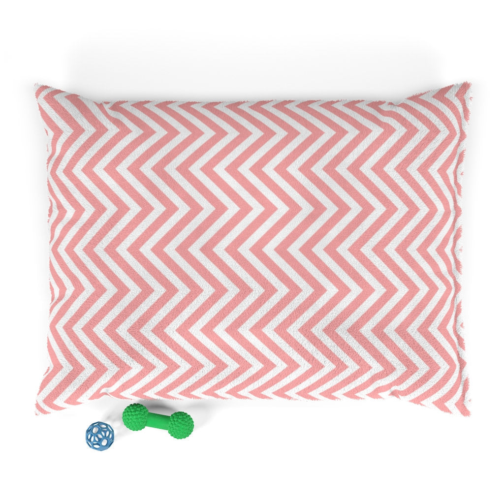 Pastel Pink Chevron Plush Dog Bed - Poshtails