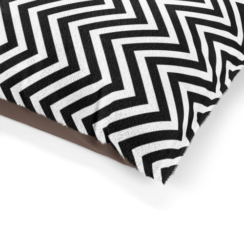 Black and White Chevron Plush Dog Bed - Poshtails
