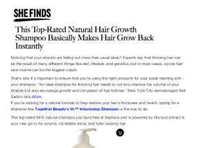 this top-rated natural hair growth shampoo basically makes hair grow back instantly