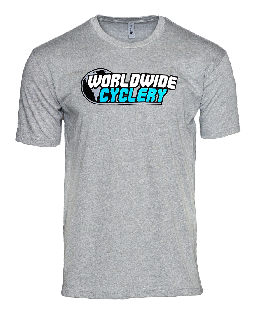 Worldwide Cyclery T-Shirt Heather Grey, Small