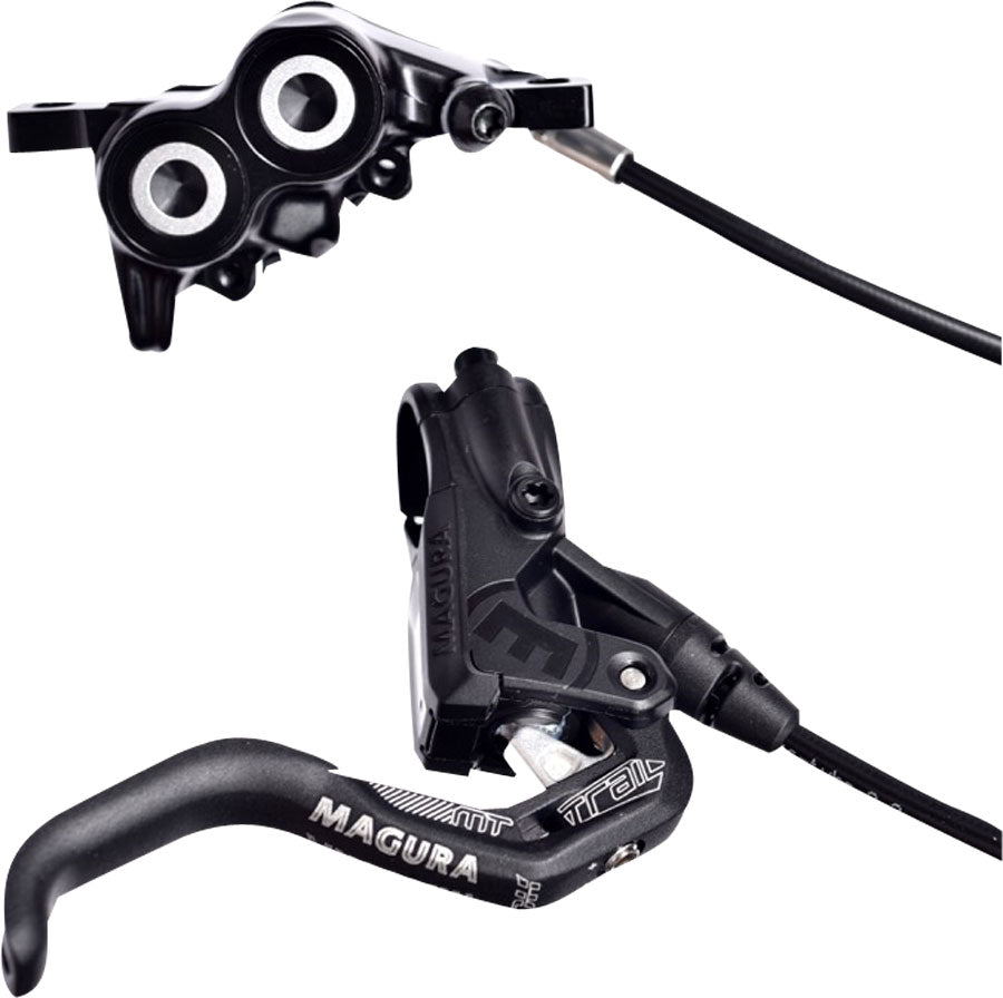 Magura MT Trail Sport Disc Brake Set Disc Brake Set - Front and Rear, Hydraulic, Post Mount, Black/White - Disc Brake & Lever - MT Trail Sport Disc Brake Set
