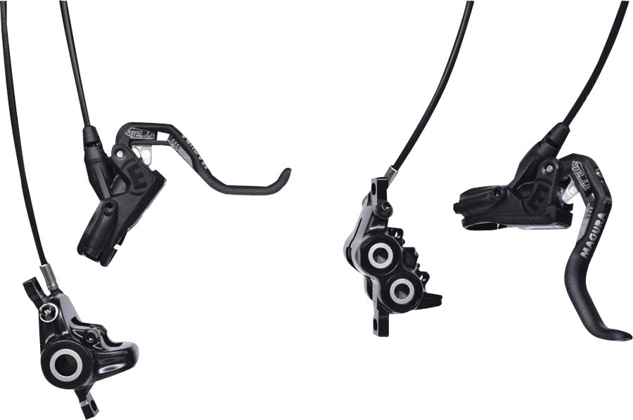 Magura MT Trail Sport Disc Brake Set Disc Brake Set - Front and Rear, Hydraulic, Post Mount, Black/White