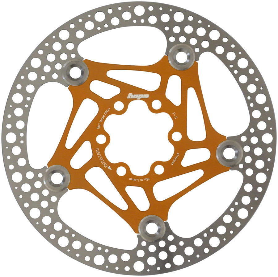 Hope Floating Road Disc Rotor: 160mm Orange MPN: HBSP3611606FC Disc Rotor Floating Road Disc Rotor