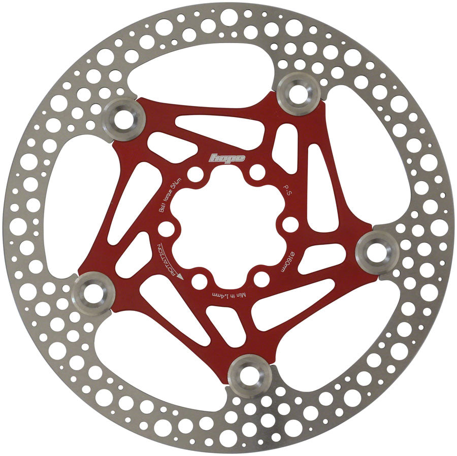 Hope Floating Road Disc Rotor: 160mm Red MPN: HBSP3611606FR Disc Rotor Floating Road Disc Rotor