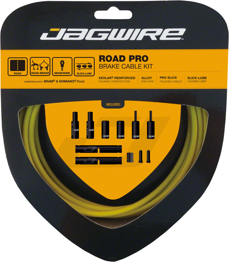 Jagwire Pro Brake Cable Kit Road SRAM/Shimano, Yellow MPN: PCK207 Brake Cable & Housing Set Pro Polished Road Brake Kit