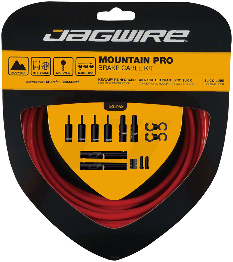 Jagwire Pro Brake Cable Kit Mountain SRAM/Shimano, Red MPN: PCK404 Brake Cable & Housing Set Pro Polished Mountain Brake Kit