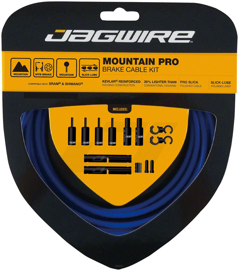 Jagwire Pro Brake Cable Kit Mountain SRAM/Shimano, SID Blue MPN: PCK405 Brake Cable & Housing Set Pro Polished Mountain Brake Kit