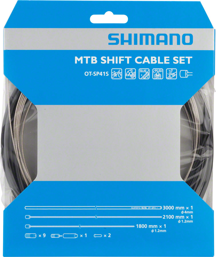 Shimano MTB Stainless Derailleur Cable and Housing Set, Black
