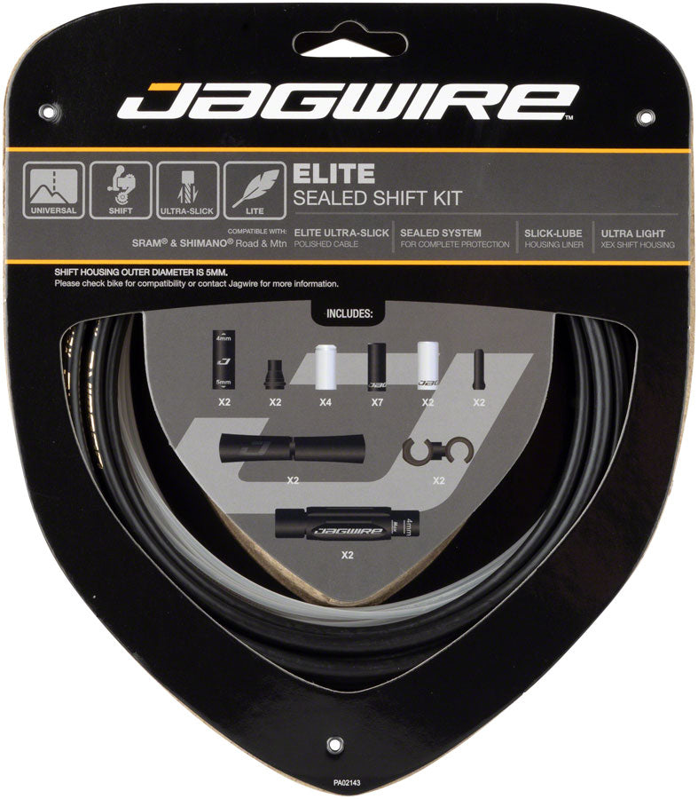 Jagwire Elite Sealed Shift Cable Kit SRAM/Shimano with Ultra-Slick Uncoated Cables, Stealth Black