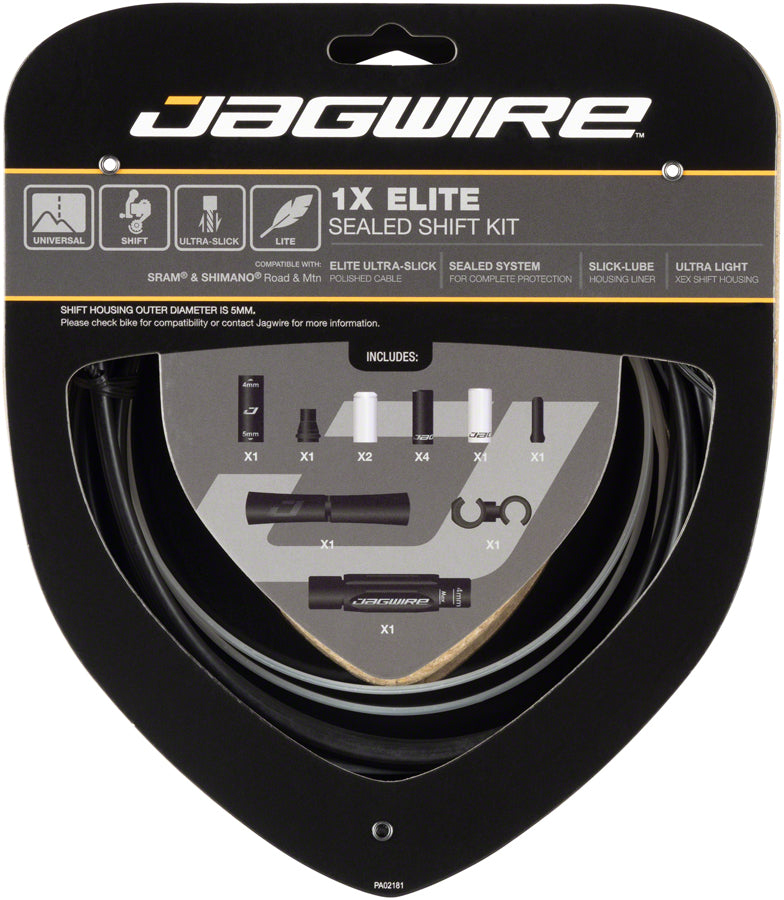 Jagwire 1x Elite Sealed Shift Cable Kit SRAM/Shimano with Polished Ultra-Slick Cable, Stealth Black