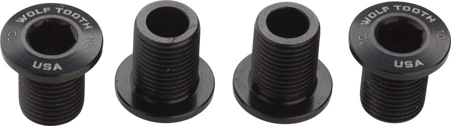 Wolf Tooth Set of Chainring Bolts for 104 x 30T Ring (10 mm long) 4-Pieces Black