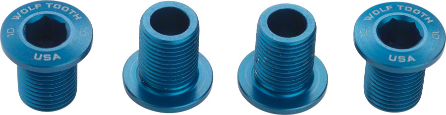 Wolf Tooth Chainring Bolts for 104 x 30T Rings (10 mm long) 4-Pieces Blue