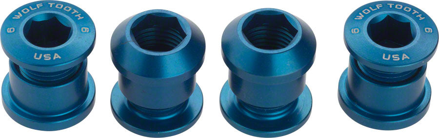 Wolf Tooth Components Set of 4 Chainring Bolts for 1x use Dual Hex Fittings Blue