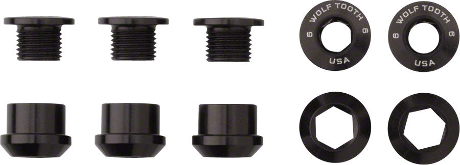 Wolf Tooth Components Set of 5 Chainring Bolts for 1x Dual Hex Fittings Black
