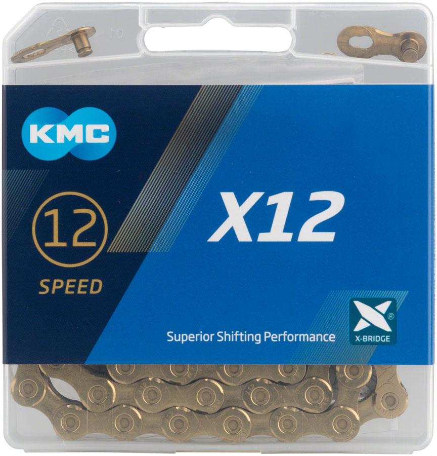 "KMC X12 Chain - 12-Speed, 126 Links, Gold MPN: ""X12 X 126L, TI GOLD"" UPC: 766759712303 Chain X12 Chain"