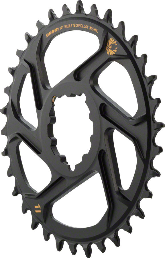 SRAM X-Sync 2 Eagle Direct Mount Chainring 34T Boost 3mm Offset with Gold Logo MPN: 11.6218.030.170 UPC: 710845787591