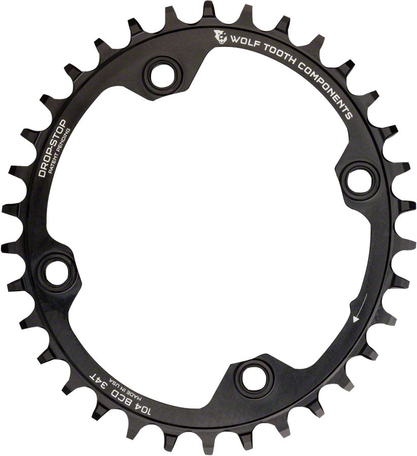 Wolf Tooth Components Elliptical Drop-Stop Single Chainring: 32T x 104 Black