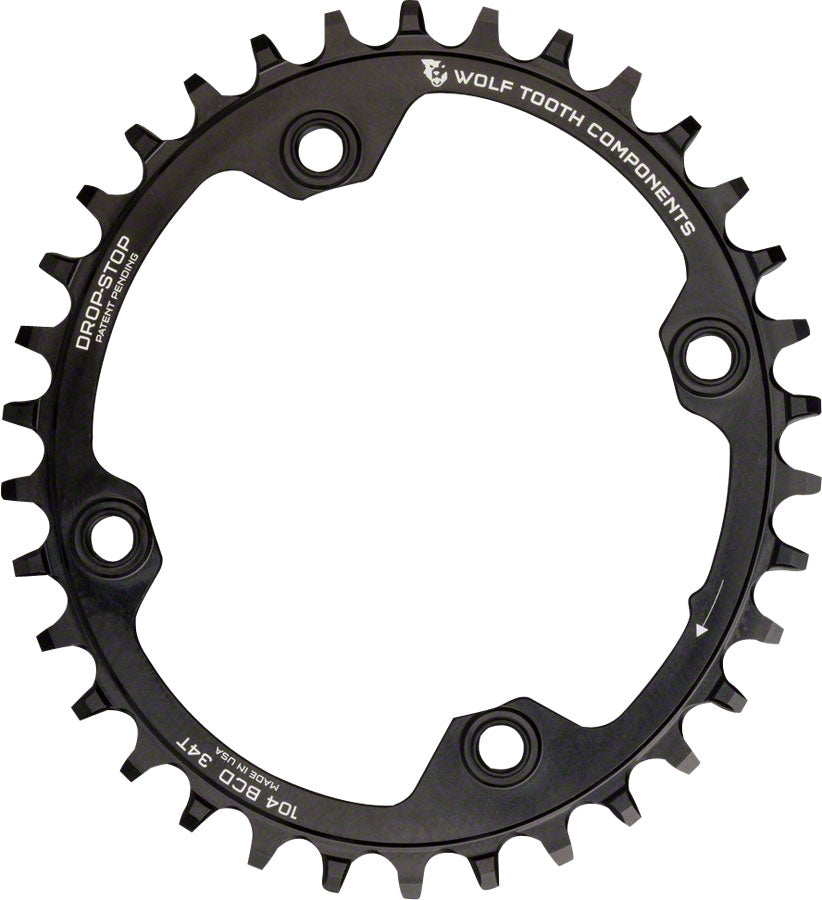 Wolf Tooth Elliptical 104 BCD Chainring - 36t, 104 BCD, 4-Bolt, Drop-Stop, Black MPN: OVAL10436 UPC: 812719021562 Chainring Elliptical 104 BCD Chainrings