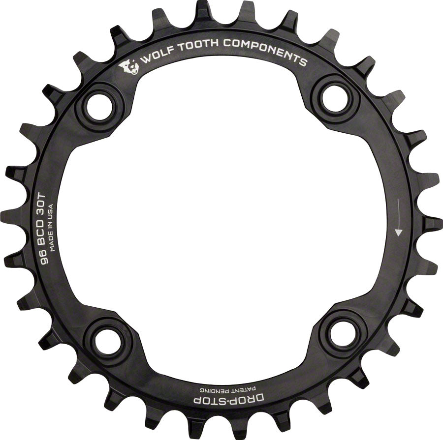 Wolf Tooth 96 Symmetrical BCD Chainring - 30t, 96 BCD, 4-Bolt, Drop-Stop, For Shimano Cranks, Black MPN: SYM9630 UPC: 812719021579 Chainring 96 Symmetrical BCD Chainrings