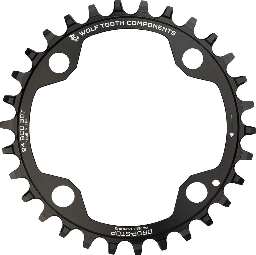 Wolf Tooth 94 BCD Chainring - 30t, 94 BCD, 4-Bolt, Drop-Stop, For SRAM Cranks, Black MPN: SR4-9430 UPC: 810006800340 Chainring 94 BCD 4-Bolt Chainrings