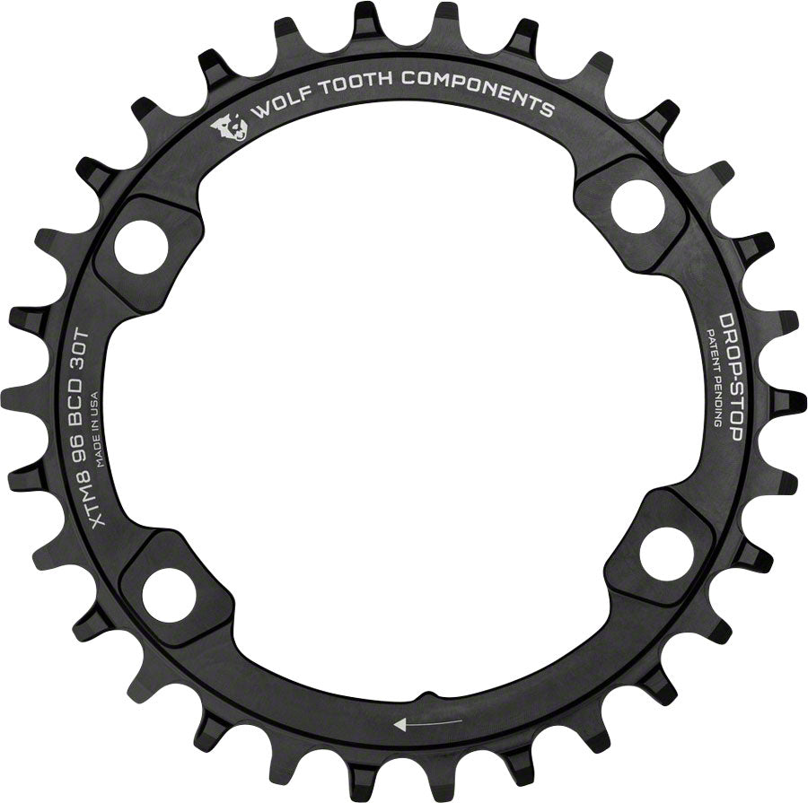 Wolf Tooth Drop-Stop 30T Chainring: For Shimano XT 8000 w/ 96 Asymmetrical BCD