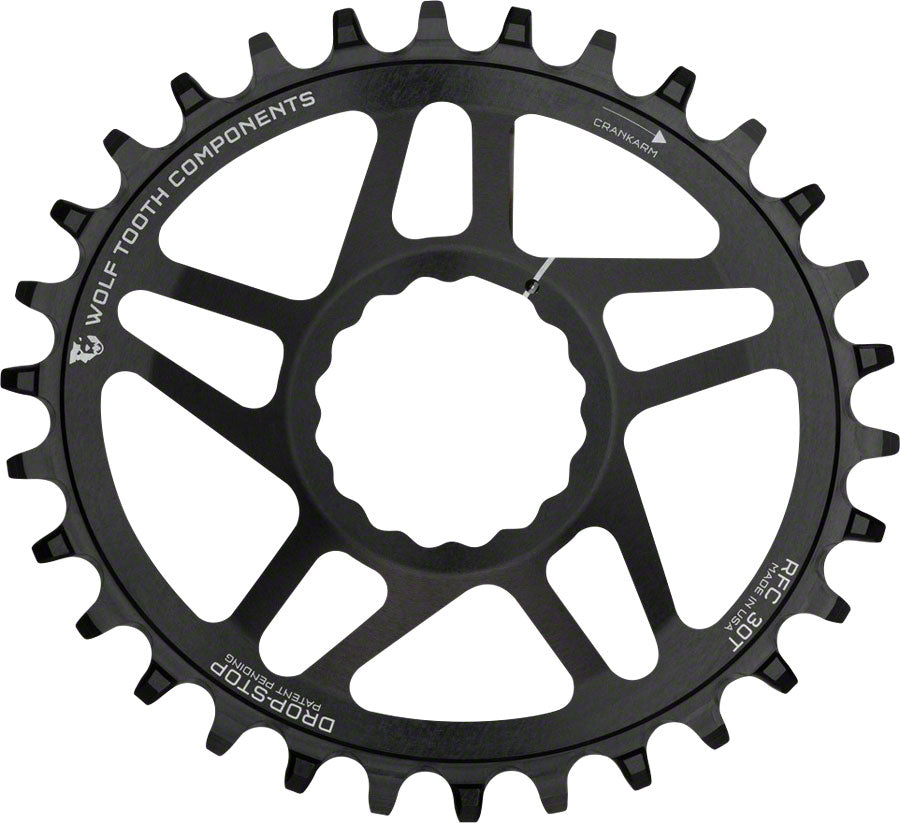 Wolf Tooth Direct Mount Drop-Stop Oval 30T Chainring: For RaceFace CINCH Black