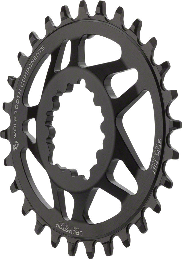 Wolf Tooth Elliptical Direct Mount Drop-Stop 28T Chainring For SRAM Cranks Black