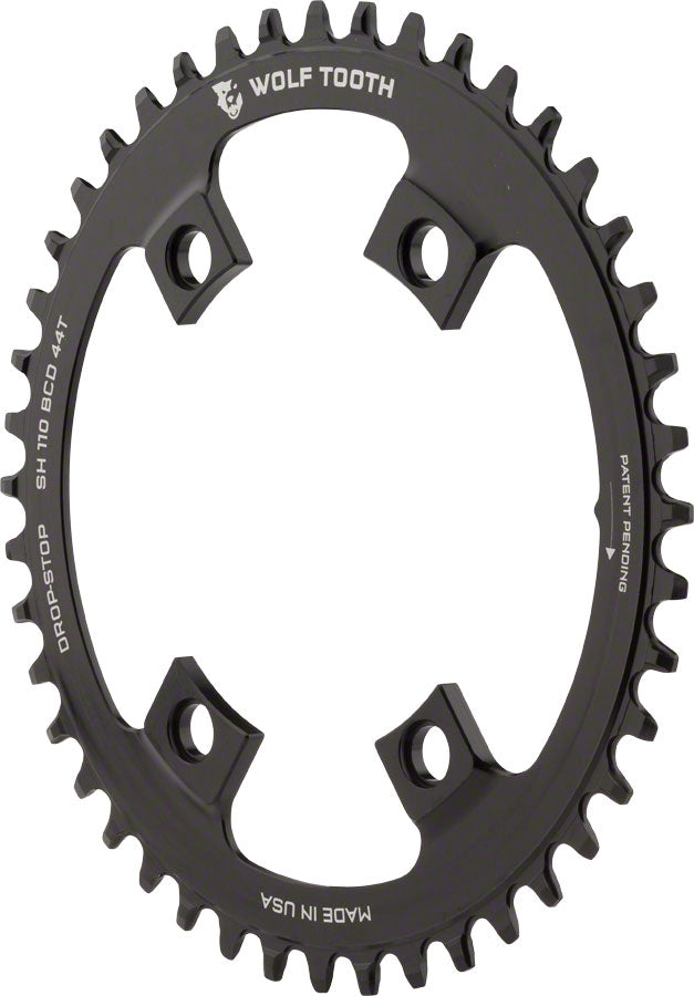 Wolf Tooth Chainring: 44T x Shimano Asymmetric 110 BCD, for 4-Arm cranks, Black