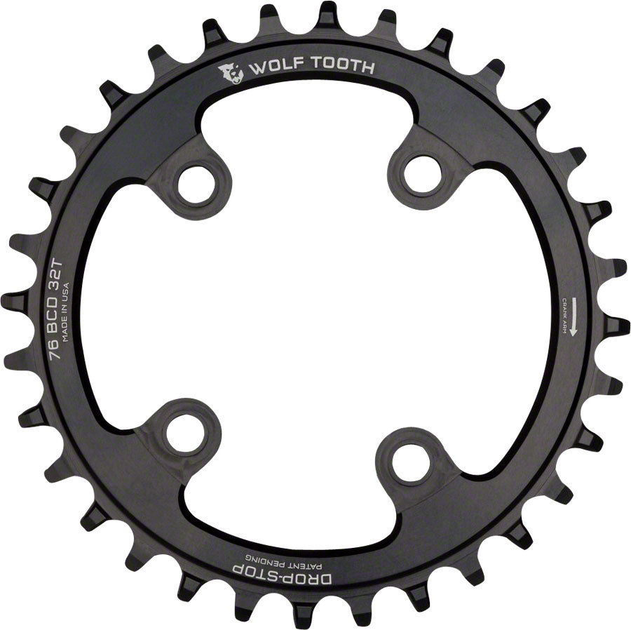 Wolf Tooth 76 BCD Chainring - 32t, 76 BCD, 4-Bolt, Drop-Stop, Compatible with SRAM 76 BCD and Specialized Stout, Black