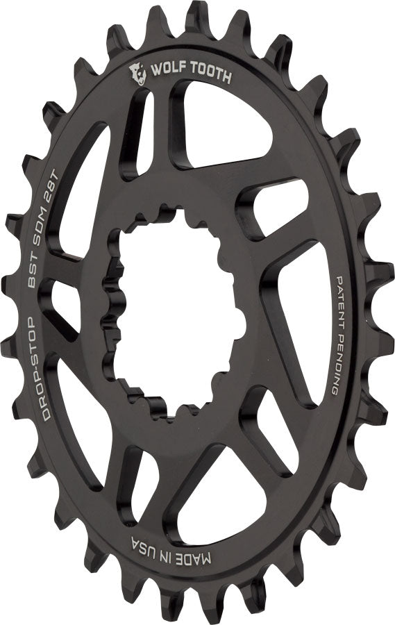 Wolf Tooth Direct Mount Chainring - 28t, SRAM Direct Mount, Drop-Stop, For SRAM 3-Bolt Boost Cranks, 3mm Offset, Black