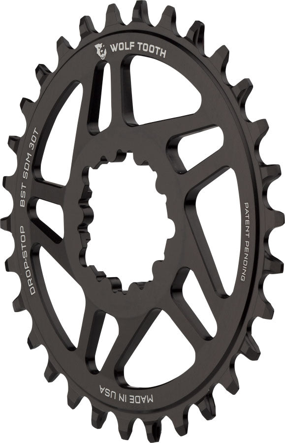 Wolf Tooth Direct Mount Chainring - 30t, SRAM Direct Mount, Drop-Stop, For SRAM 3-Bolt Boost Cranks, 3mm Offset, Black
