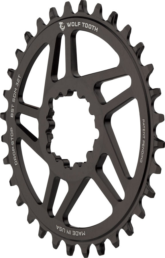 Wolf Tooth Direct Mount Chainring - 32t, SRAM Direct Mount, Drop-Stop, For SRAM 3-Bolt Boost Cranks, 3mm Offset, Black