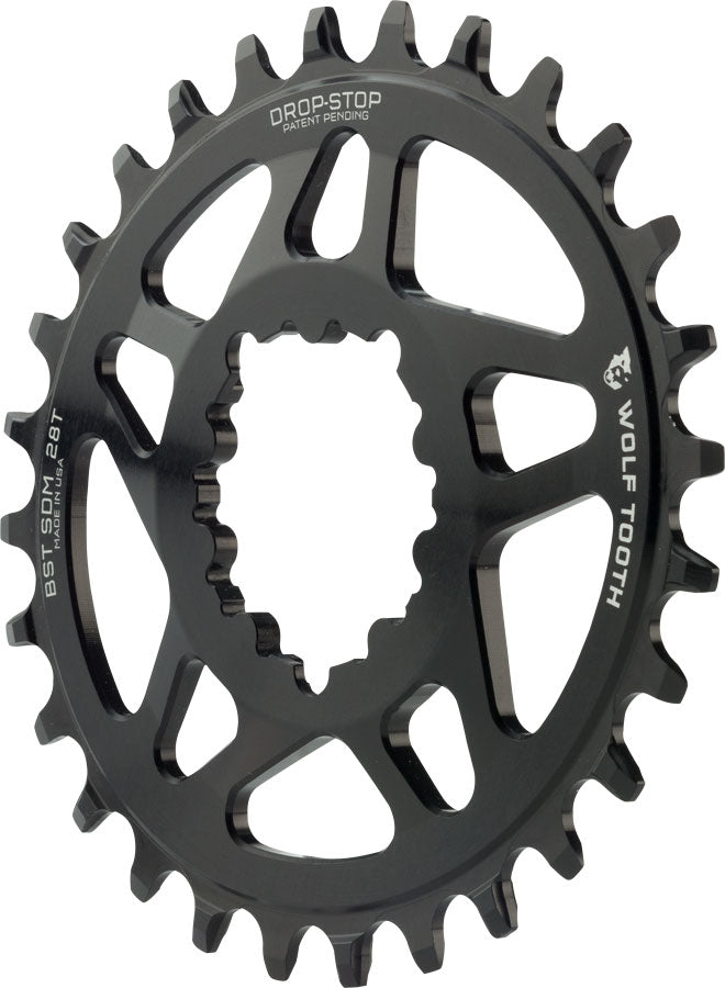 Wolf Tooth Elliptical Direct Mount Chainring - 28t, SRAM Direct Mount, Drop-Stop, For SRAM 3-Bolt Boost Cranksets, 3mm