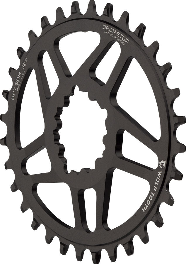 Wolf Tooth Elliptical Direct Mount Chainring - 32t, SRAM Direct Mount, Drop-Stop, For SRAM 3-Bolt Boost Cranksets, 3mm