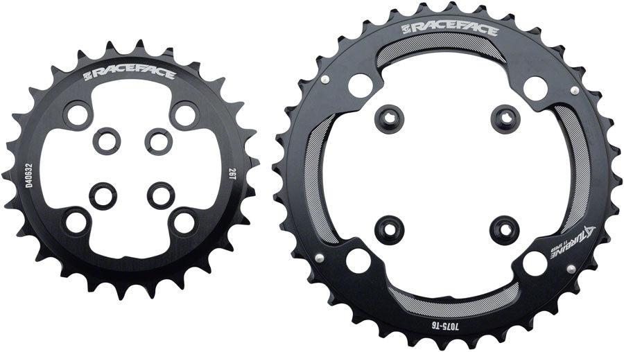 RaceFace Turbine 11-Speed Chainring: 64/104mm BCD, 26/36t, Black MPN: RRTUR2JBLK UPC: 821973286938 Chainring Turbine 11-Speed