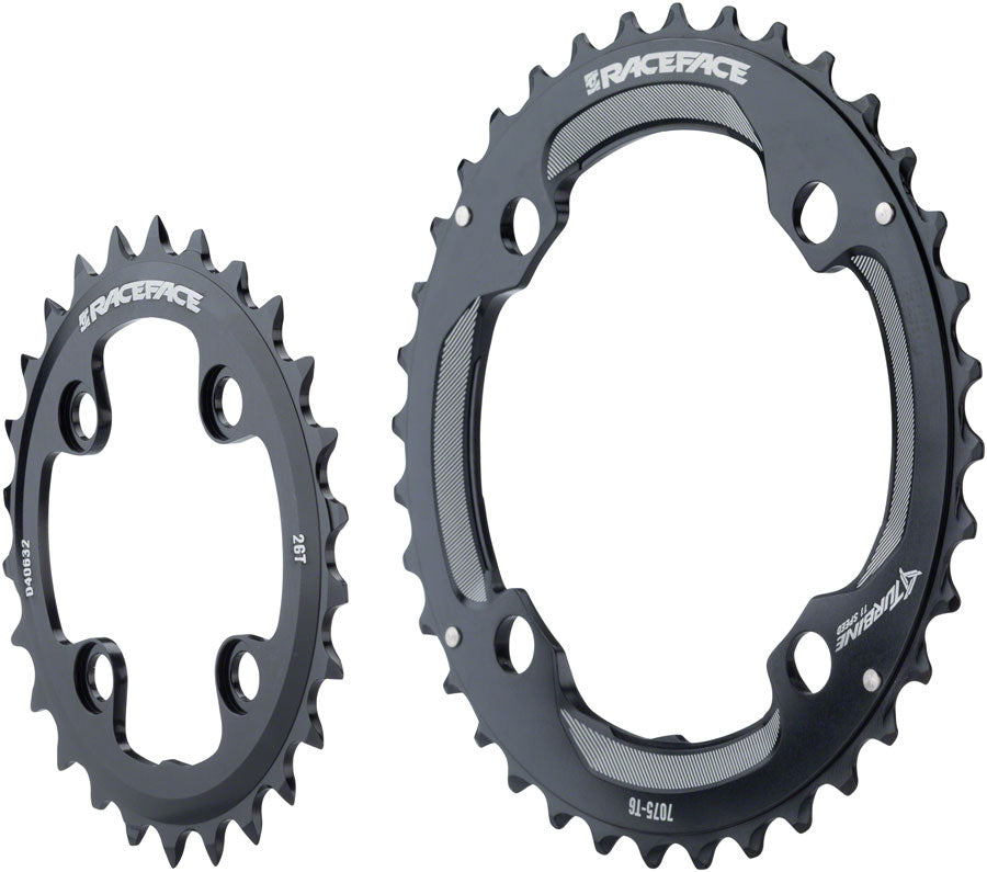 RaceFace Turbine 11-Speed Chainring: 64/104mm BCD, 26/36t, Black MPN: RRTUR2JBLK UPC: 821973286938 Chainring Turbine 11-Speed Chainrings