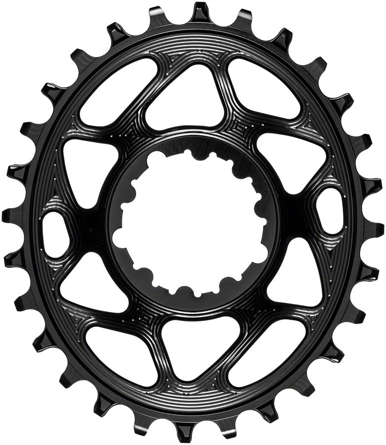 absoluteBLACK Oval Narrow-Wide Direct Mount Chainring - 28t, SRAM 3-Bolt Direct Mount, 3mm Offset, Black