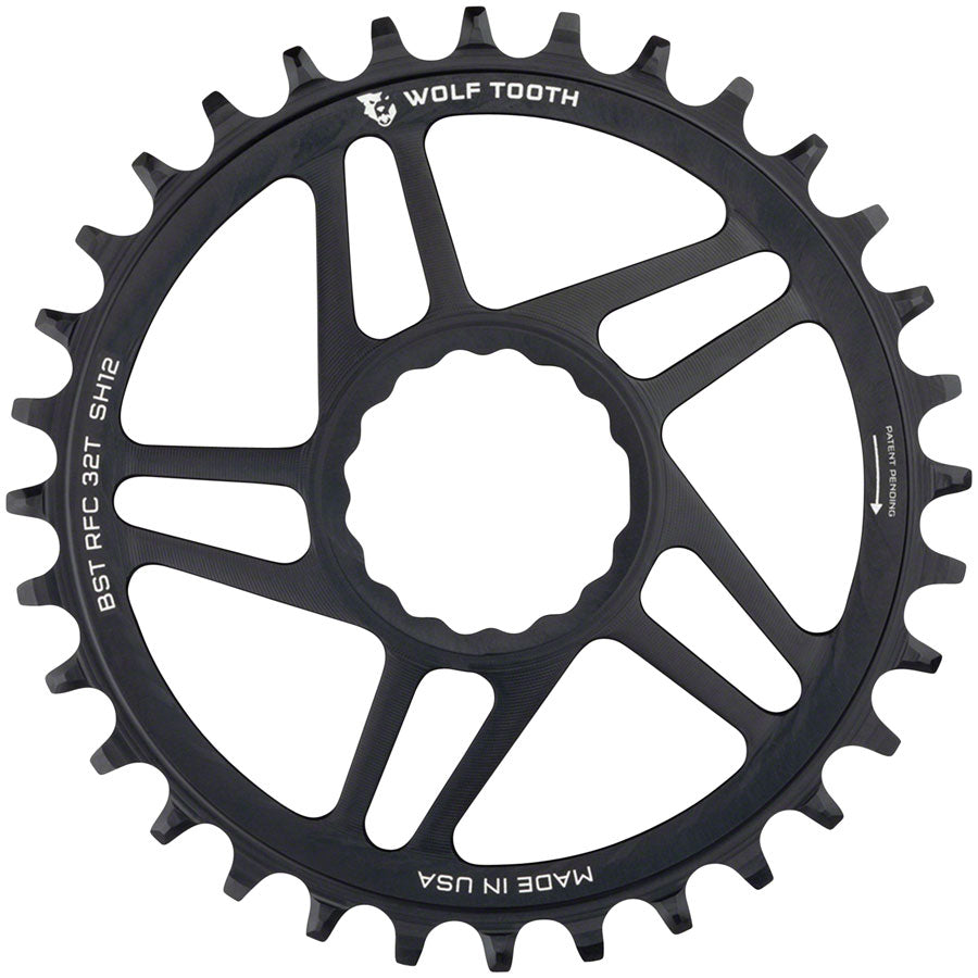 Wolf Tooth Direct Mount Chainring - 32t, RaceFace/Easton CINCH Direct Mount, Boost, 3mm Offset, Requires 12-Speed MPN: RFC32-BST-SH12 UPC: 810006800678 Direct Mount Chainrings RaceFace/Easton CINCH Hyperglide+ Direct Mount Mountain Chainrings