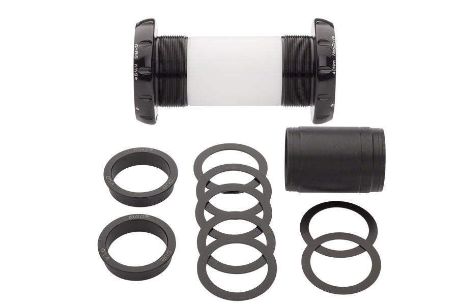 Chris King ThreadFit 30 Bottom Bracket with Fit Kit 2 - English, For DUB Road, Black - Bottom Brackets - Threadfit 30 Bottom Bracket