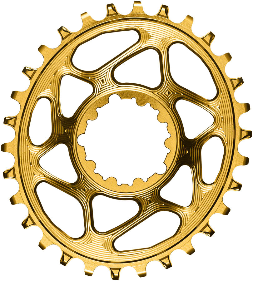 absoluteBLACK Oval Narrow-Wide Direct Mount Chainring - 30t, SRAM 3-Bolt Direct Mount, 3mm Offset, Gold