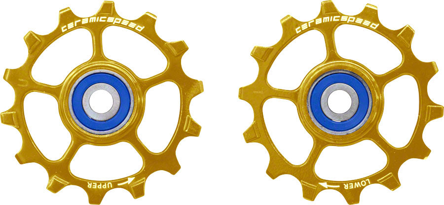 CeramicSpeed SRAM Eagle-14 1x12-speed Pulley Wheels: Stainless Steel, Gold