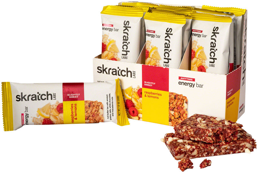 Skratch Labs Anytime Energy Bar: Raspberries and Lemon, Box of 12 MPN: AEB-RL-50G/12 UPC: 858690007478 Bars Anytime Energy Bars