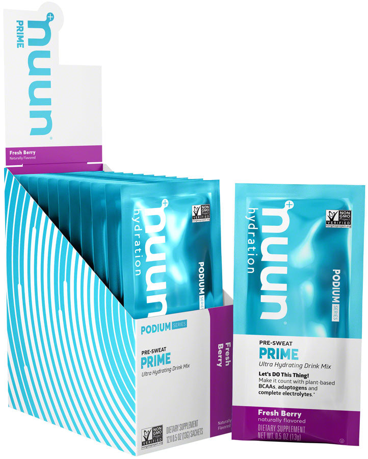 Nuun Prime Hydration Drink Mix: Fresh Berry, Box of 12 Single Serving Sleeves