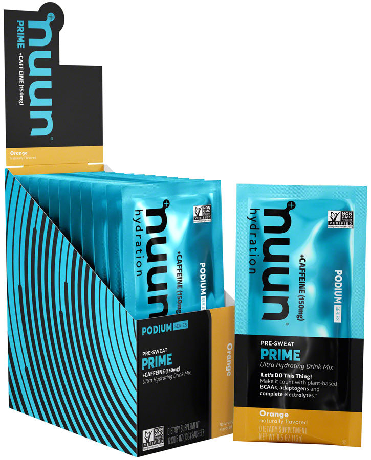 Nuun Prime Hydration Drink Mix: orange + Caffeine, Box of 12 Single Serving Sleeves