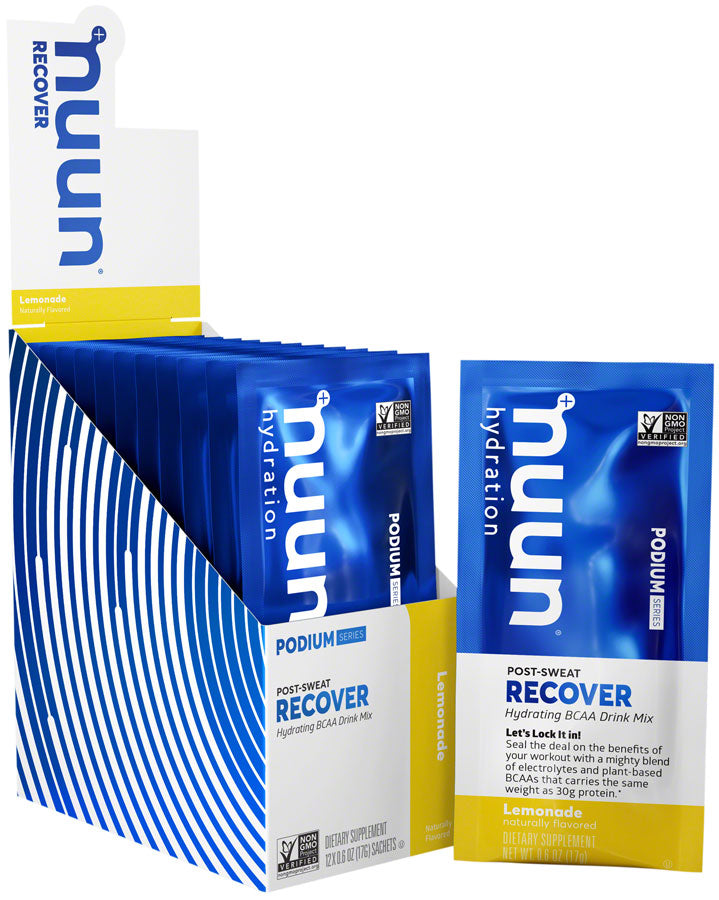 Nuun Recover Hydration Drink Mix: Lemonade, Box of 12 Single Serving Sleeves
