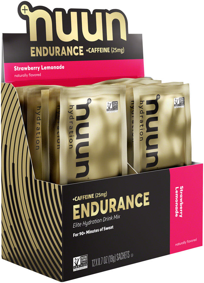 Nuun Endurance Hydration Drink Mix: Strawberry Lemonade + Caffeine, Box of 12 Single Serving Sleeves